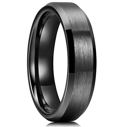 s 6mm Black Ceramic Rings Brushed Matte Comfort Fit Beveled Polished Edge Wedding Band(8) (Black Ceramic Comfort Fit Ring)