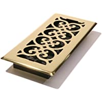 Decor Grates SPH410 4-Inch by 10-Inch Scroll Floor Register, Polished Brass Finish by Decor Grates