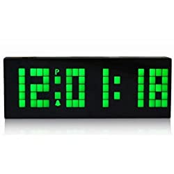 Digital Large Big Number Jumbo LED snooze wall desk Alarm clock count down timer with calendar -Green Light