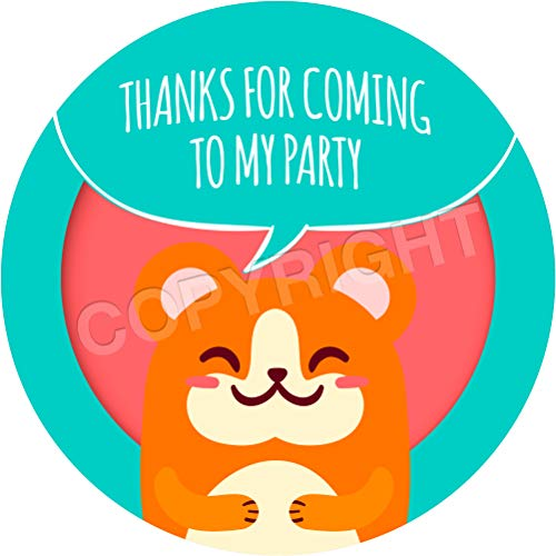 (Hamster Sticker Labels (24 Stickers, 1.8'' Inch Each) Seals Ideal for Party Bags, Sweet Cones, Favours, Jars, Presentations Gift Boxes, Bottles, Crafts)