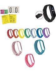 SIMYJOY 10 st remmar för Xiaomi Mi Band 5 armband ersättningsband fitness sport smart armband armband silikon sport klockarmband 2 st skärmskydd