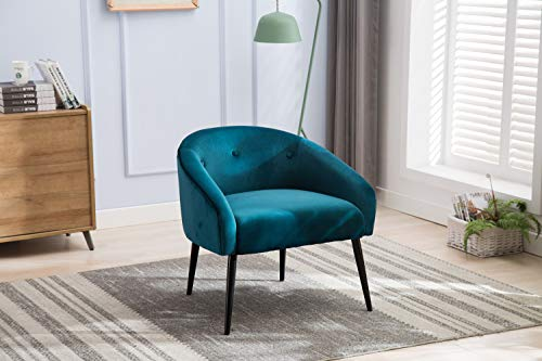 Fabric Accent Chair Mid Century Armchair Vintage Stylish Club Chair Seat for Living Room (Blue)