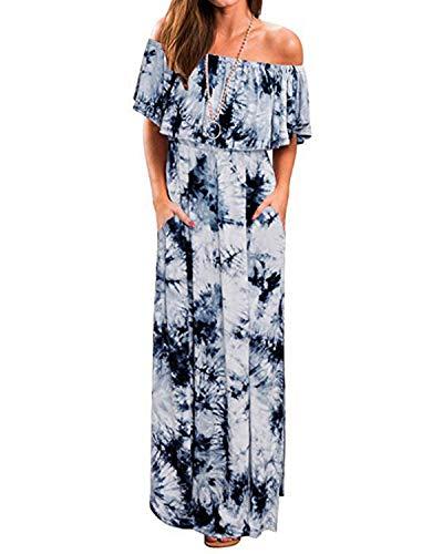 BYSBZD Womens Open Shoulder Ruffle Party Dresses Side Split Beach Maxi Long Dress Blue -