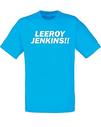 (Leeroy Jenkins!!, Mens Printed T-Shirt - Azure/White XL)