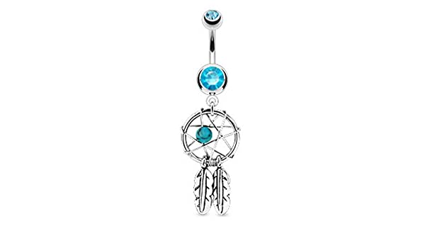 Freedom Fashion 316L Surgical Steel Navel Ring with Princess Crown Dangle Sold by Piece