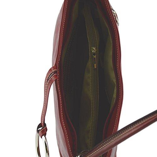 Hombro Rojo Hecho Cuero De Italia Mujer Toscano Del De Bolso Genuino Bolsa Cuero En Color EURq4