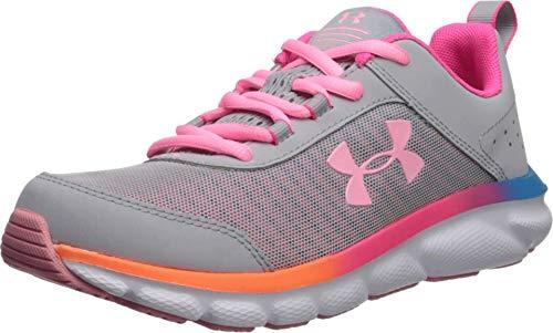 Under Armour Kids' Grade School Assert 8 Sneaker, Mod Gray (100)/Pinkadelic, 4.5