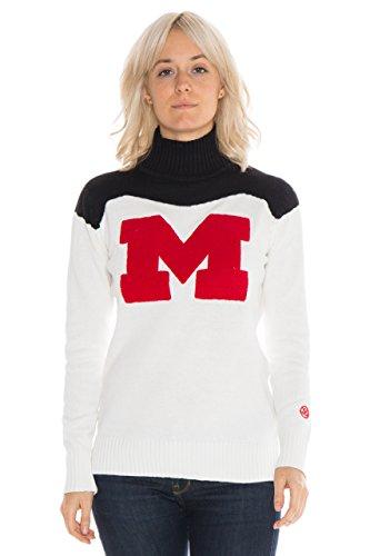 Alma Mater NCAA Maryland Terrapins Women's Cheer Sweater, Medium, Cream/Black (Cosy Cream)