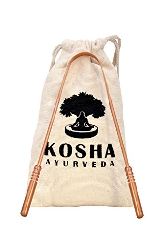 Copper Tongue Cleaner - Kosha Ayurveda Copper Tongue Scraper Cleaner | Perfect Surgical Tongue Scraper | Best remedy for bad breath | Maintains Oral Hygiene | Thick Safe Blunt Edges | Flexible handle and Comfortable Grip.