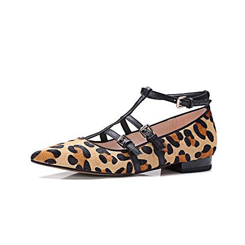 Nine Seven Cuero Moda Puntiagudos Bailarinas Planos con Correa de Tobillo para Mujer leopardo