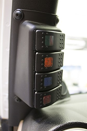 Daystar, Jeep JK Wrangler A-Pillar Switch Pod, includes 4 Daystar, Rocker Switches, Black, fits 2007 to 2017 2/4WD, KJ71056BK, Made in America