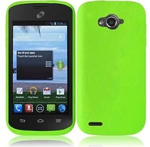 Cerhinu For ZTE Savvy Z750C Silicone Jelly Skin Cover Case (Neon Green)