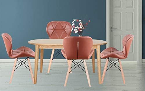 Skycity-EU EIN Lot de 4 chaises de salle à manger nordiques en bois de hêtre avec pied en métal pour cuisine, salle à manger (rouge)