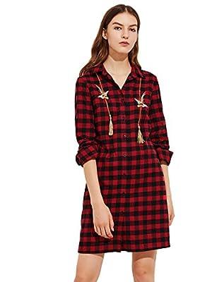 ROMWE Women's Long Sleeve Bird Embroidery Tassel Embellished Plaid Shift Tee Shirt Dress