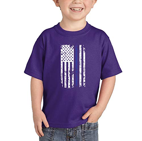 Blue Line American Flag - Support Police Infant/Toddler Cotton Jersey T-Shirt (Purple, 3T) ()