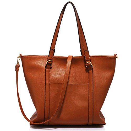 Xardi Londra grande in finta pelle con doppia maniglia da donna, borse a tracolla Hobo College donne borsetta Brown