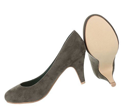 Klassische Pumps   Damen High Heels   Runde Stilettos Leder-Optik   Büroschuhe Schuhe Leder-Optik   Abendschuhe kleiner Absatz   Schuhcity24 Olive