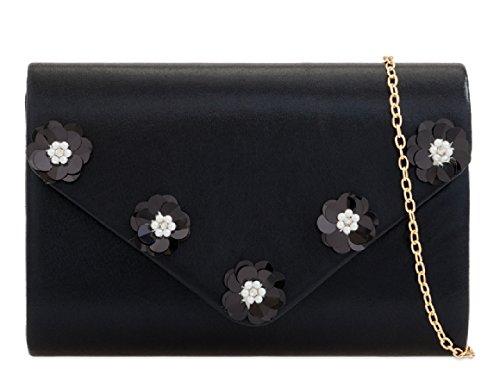 KZ2284 Floral Women's Handbag Clutch Ladies Black Flower Pearl Stylish Envelope Bag Evening vqawC67xp