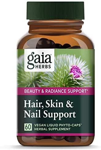 Gaia Herbs Hair, Skin & Nail Support, Vegan Liquid Capsules, 60 Count - Growth Nutrients & Antioxidants to Support a Natural Glow