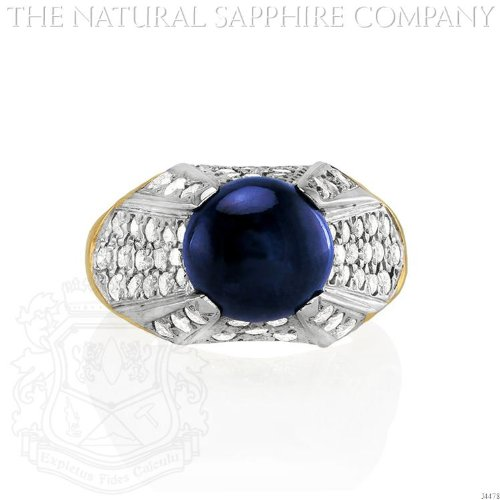 14K Yellow Gold, Cabochon Sapphire and Diamond Ring. (J4478)