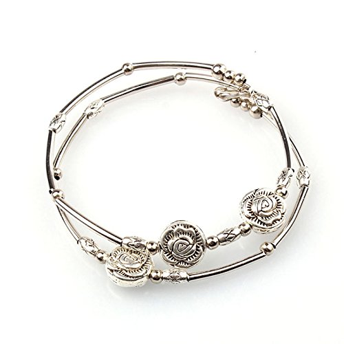 Women Silver Rose Bangle Double Layered Beads Charm Bracelets Girlfriend Gift
