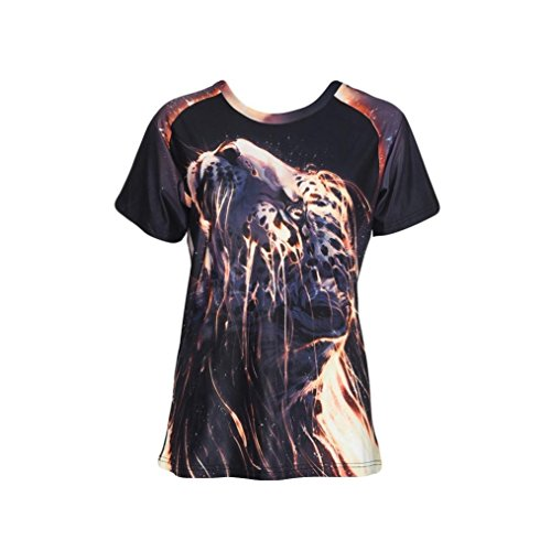UOFOCO 3D T Shirts for Women Fashion Blouse Short Sleeve Tops Funny Mode 3D Print ()
