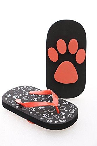 Gr. 35-37 Katze Cat Neko Flip-Flops Sohle mit Katzenpfoten Abdruck schwarz Funny Japan Sandale Strand Zehentrenner