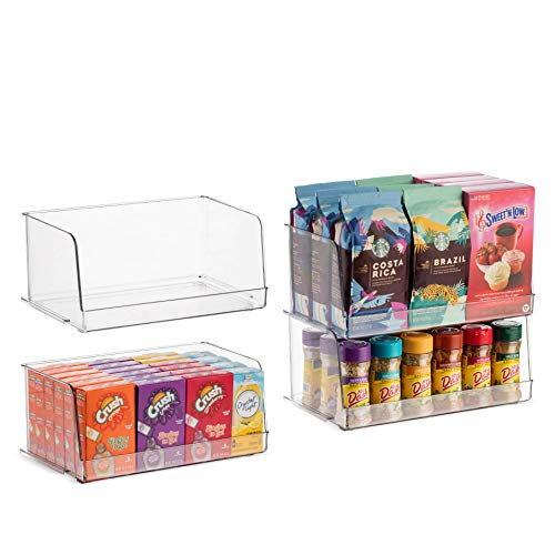 Set Of 4 Clear Pantry Organizer Bins Stackable Household Plastic Food Storage Basket with Wide Open Front for Kitchen…