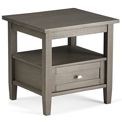 Simpli Home Warm Shaker Solid Wood End Side Table, Farmhouse Grey Review