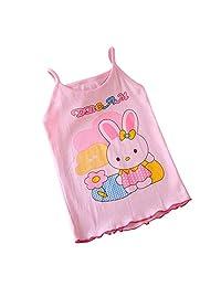 XuBa Children Cartoon Pattern Shoulder Sling Tank Tops Sling pink bunny 110