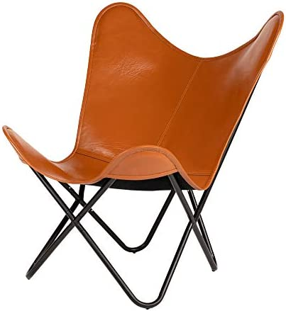 Elegant Genuine Leather Living Room Knock Down Home Butterfly Chair