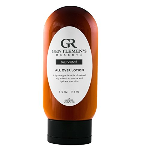 All Over Lotion for Men by Gentlemens Reserve - Face, Hands, Body - All Natural & Organic - Good for Normal, Dry, or Sensitive Skin - Handmade with Coconut & Olive Oil (4oz)