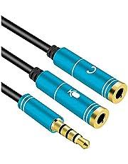 Audio Headset Earphone Mic Y Splitter Cable - Blue Metal