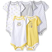 Luvable Friends Baby Infant 5 Pack Bodysuits, Yellow/Gray Owl, 9M(6-9 Months)