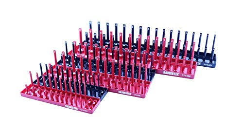 """BADGERTEK Socket Organizers for Toolboxes – Complete 6-Piece Tool Holder Tray Set for SAE & Metric Sockets for Mechanics Toolbox Fits ¼"""", 3/8"""", ½"""" Drive Short & Deep Sockets"""