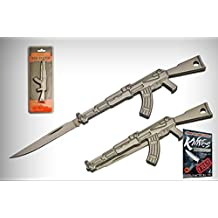 """Mini AK-47 Keychain Elite Folding Knife 2"""" Blade Silver Stainless Steel + free eBook by ProTactical'US"""
