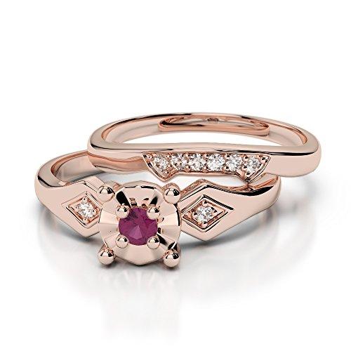 Or Rose 18carats 0,10ct G-H/VS Certifié Coupe ronde Rubis et diamant de mariage Bague de fiançailles et ensemble de Agdr-1058