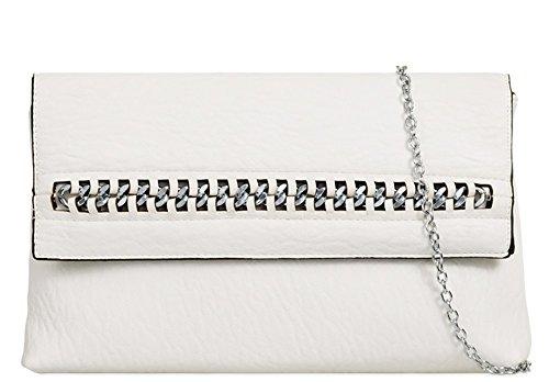 Koko Womens Chain Detail Clutch Bag White