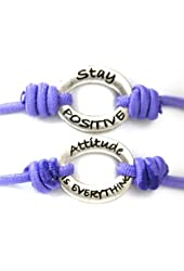 "TOC Bandz Purple Stay Positive...Attitude Is Everything 6"" Love stretch Bracelet"