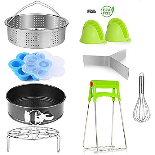 (Instant Pot Accessories,Pressure Cooker Accessories Set for Instant Pot 5,6 Qt 8 Quart,with Steamer Basket/Non-stick Springform Pan/Egg Rack/Silicone Egg Bites Mold/Silicone Oven Mitts,8pcs)