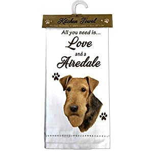 E&S Pets 700-57 Airedale Terrier Kitchen Towels, Off-white 1