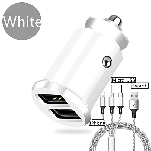 DECVO UL Testify Two Ports Car Charger with Cable, Dual-Port USB and 3 in 1 Cord for Samsung Galaxy S9 S8 Plus/S7/S6/Edge/Note 5 8,HTC,LG G6 G5,Nexus 5X 6P, iPhone Xs X 8 7 6 6S,iPad and More (White) (Car Latitude Seat Adaptor)