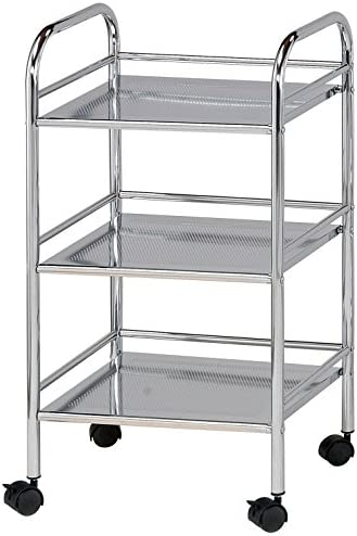 Blue Hills Studio SH3CH Storage Cart 3-Shelf Chrome