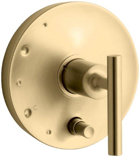 KOHLER K-T14501-4-BGD Purist Rite-Temp Pressure-Balancing Valve Trim with Lever Handles, Vibrant Moderne Brushed Gold (Purist Temp Balancing Pressure Rite)