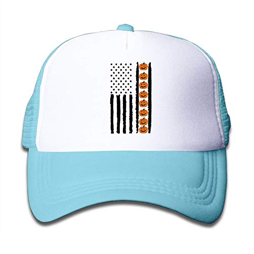 Halloween Pumpkin USA Flag On Children's Trucker Hat, Youth Toddler Mesh Hats Baseball Cap -