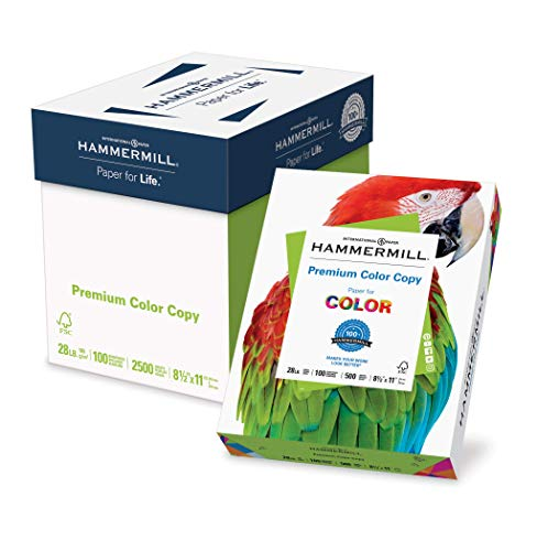 Hammermill Paper, Premium Color Copy Paper 8.5 x 11 Paper, Letter Size, 28lb Paper, 100 Bright, 5 Reams / 2,500 Sheets (102450C) Acid Free - Photo White Glossy Paper Bright