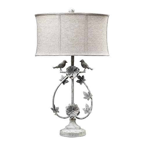 Dimond 113 1134 Linen Shade French Country Two Birds Iron Table Lamp