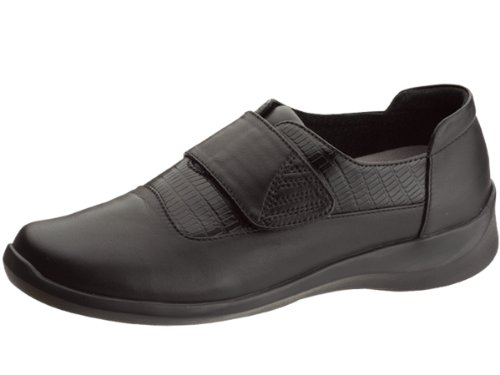 Aetrex Women's Essence Single Strap Velcro Shoes,Black Leather,10 M