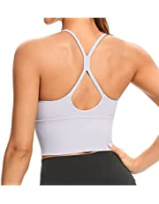 Lemedy Women Strappy Longline Removable Padded Sports Bras Workout Yoga Running Crop Tank Tops