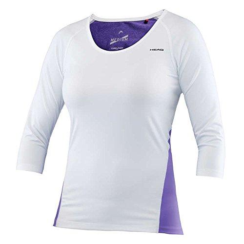 Head - Damen Tennis Shirt Langarm - VISION W BRITNEY 3/4 SLEEVE in verschiedenen Farben (Artikel: 814256), Größe:XL;Farbe:White